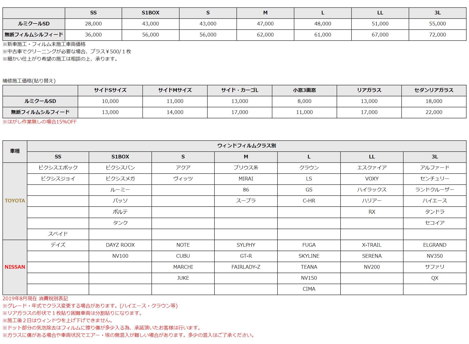 フィルム施工価格表